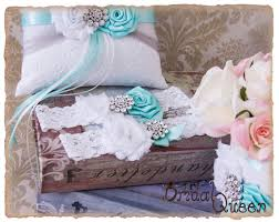 wedding guest book set aqua and gray wedding accessories aqua ring bearer pillow flower