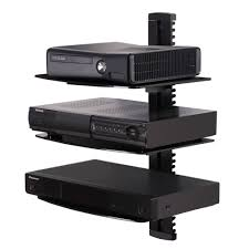 Tv Wall Mount Lowering Fenge Component Shelf With 3 Tiers Black Glass Shelf Wall Mount