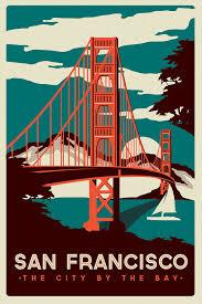 Screen Print Design Ideas San Francisco Golden Gate Bridge Retro Vintage Silk Screen Printed