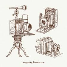 pack of hand drawn professional vintage cameras vector free download