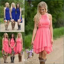 cheap country bridesmaid dresses short 2017 coral plus size modest