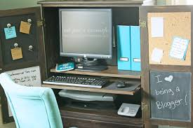 Computer Desk With Cabinets Armoire Turned Computer Cabinet Risenmay