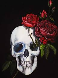 skull roses painting almost finished lon illustrations