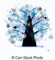 clip vector of winter tree snowflakes