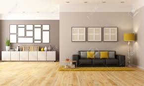 Sideboard In Living Room Contemporary Living Room With Brown Sofa And Sideboard Rendering