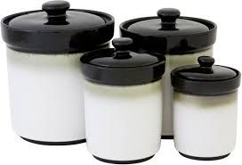 4 piece stoneware kitchen canister set counter sugar flour storage