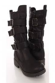 s boots with buckles black faux leather buckle detail combat boots