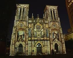 san fernando cathedral light show show at san fernando cathedral photograph by gwen juarez