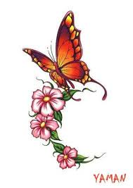 butterfly and flower tattoos search tattoos