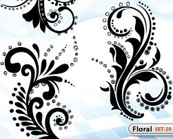 floral set 20 vector photoshop brushes stock