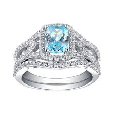 ring sets emerald cut 925 sterling silver aquamarine halo ring sets