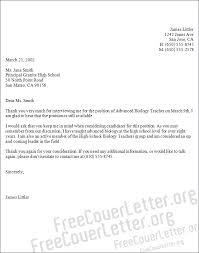 biology teacher cover letter sample