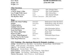theatre acting sample resume template theater musical examples 34