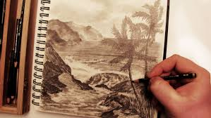 how to draw a realistic palm tree beach landscape in pencil youtube