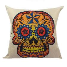 sugar skull printed linen cushion 45x45cm 17 7x17 7 u0027 u0027 for