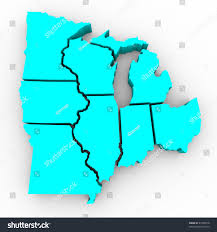 Map Of Michigan Lakes 3d Map Great Lakes Region States Stock Illustration 47339818