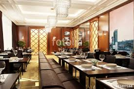 modern restaurant design with table and sofas 3d rendering