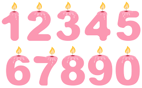 number birthday candles transparent numbers birthday candles pink png clipart gallery
