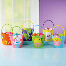 cute crafted easter gift basket idea in multi color with adorable