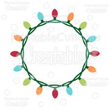 monogram christmas christmas lights circle monogram frame free svg cut file