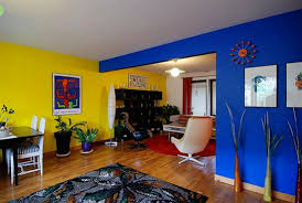 blue yellow in modern interior house wall paint color living room