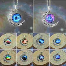 glass star pendant necklace images Wholesale fashion women 39 s crescent moon galactic universe planet jpg