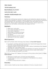 Technical Support Resume Template Professional Cisco Voip Engineer Templates To Showcase Your Talent