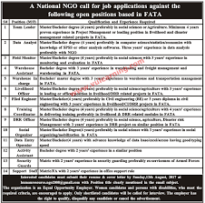 national ngo jobs 2017 in fata for various vacancies advertisement