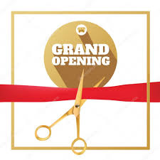 Invitation Card Grand Opening Golden Scissors Cut The Red Ribbon The Symbol Of The Grand