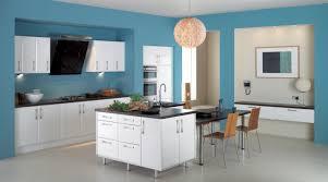peaceful sleek kitchen interior with light blue walls also globe