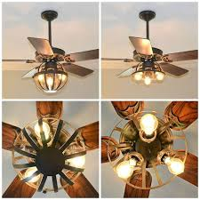Ceiling Fan With Cage Light Diy Industrial Ceiling Fan With Garden Planter Cage Lights