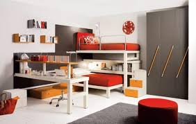 Awesome Kids Bedrooms Awesome Kids Bedroom With Two Red Beds Grey Cabinet White Desk And