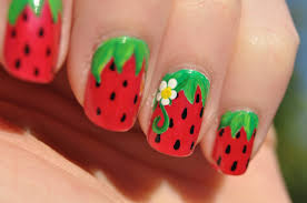 sweet summer strawberries nail art youtube