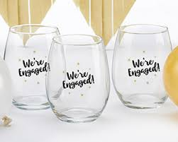 stemless wine glasses wedding favors we re engaged 15 oz stemless wine glass set of 4 my wedding