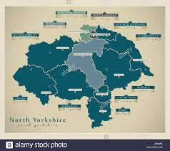 Map With Labels Modern Map North Yorkshire County With Labels England Uk Stock