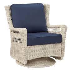Wicker Outdoor Patio Furniture - hampton bay park meadows off white swivel rocking wicker outdoor