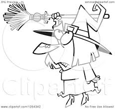 clipart of a black and white cartoon halloween witch hanging from