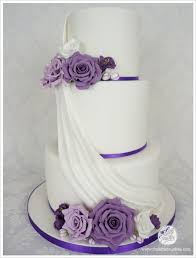 3 Tier Wedding Cake Purple 3 Tier Wedding Cake With Gumpaste Flowers And Drape U2013 Cakes