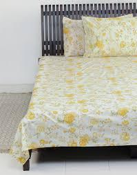Cotton Single Bed Sheets Online India Buy Fabindia Cotton Printed Mehania Bedsheet Set Yellow Online