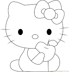kitty eat apple coloring free kitty coloring