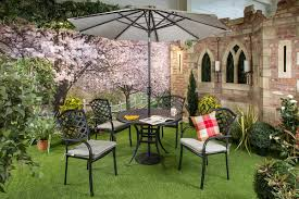 Metal Garden Table And Chairs Uk Hartman Beaumont 4 Seater Round Set In Midnight Metal Garden