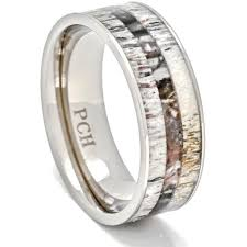camo mens wedding band deer antler ring with camo inlay 8mm titanium mens wedding band