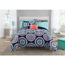 Walmart Mainstays Comforter Mainstays Navy Medallion Bed In A Bag Walmart Com