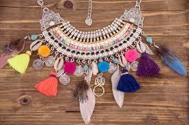 boho bib necklace images Statement necklace colorful pom fringe boho feather bib necklace jpg