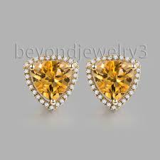 citrine earrings in solid 14kt yellow gold citrine earrings yellow gold diamond