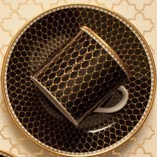 antler trellis black fine bone china cup u0026 saucer halcyon days