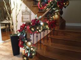 red and gold christmas staircase holiday staircase railing