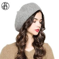 barret hat fs winter vintage gray pink blue wool beret hat for women