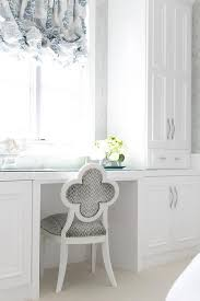 Built In Vanity Dressing Table Blue And Gray Quatrefoil Vanity Chair Transitional Closet
