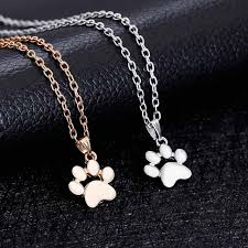 womens necklace pendants images Famshin fashion cute pets dogs footprints paw chain pendant jpg